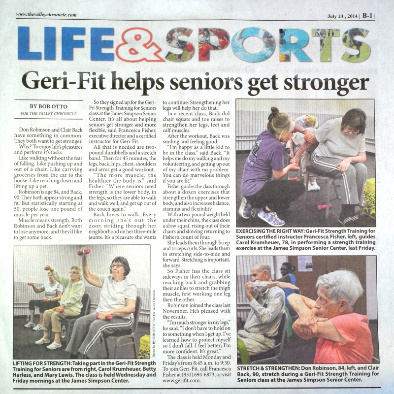 Geri-Fit in the News, Press Releases, Accomplishments and Awards